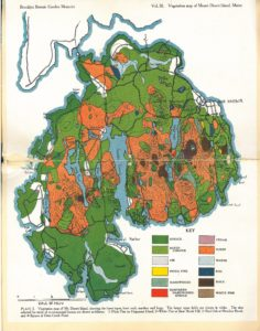 colors show different vegetation types on Mount Desert Island: the outer edges are mostly green for evergreen and deciduous forest, with orange shading interior areas that were burned by forest fires.