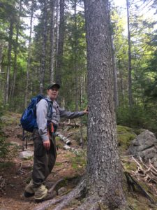 Kate Miller with baseball cap and backpack leans against a large spruce tree